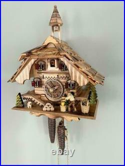 Cuckoo clock black forest 1 day german wood chopper mechanical new flamed