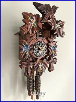 Cuckoo clock black forest 1 day original german wood carving mechanical painted