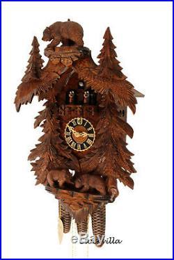 Cuckoo clock black forest 8 day original german carved wood music Hönes bears