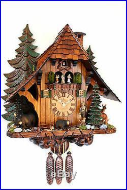 Cuckoo clock black forest 8 day original german hunter wood music bears deer XL