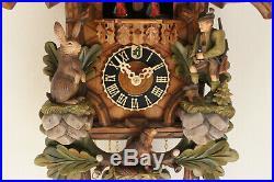 Cuckoo clock black forest 8 day original german hunter wood music new painted