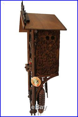 Cuckoo clock black forest 8 day original german music wood new carved