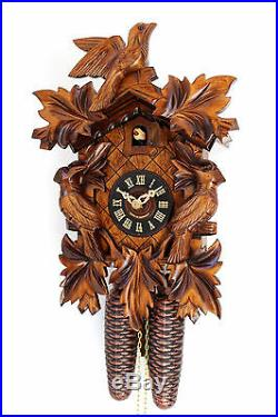 Cuckoo clock black forest 8 day original german wood carving mechanical new