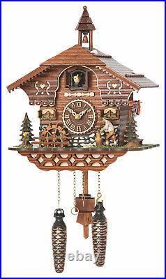 Cuckoo clock black forest quartz german moving wood chopper 12 melodies new