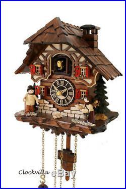 Cuckoo clock black forest quartz german music Erzgebirge figurine wood new