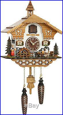 Cuckoo clock black forest quartz german music moving beer drinker battery wood