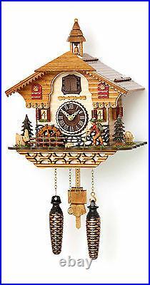 Cuckoo clock black forest quartz german music moving walker new battery wood