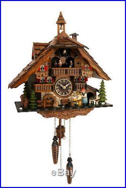Cuckoo clock black forest quartz german music quarz chalet wood beer drinker new