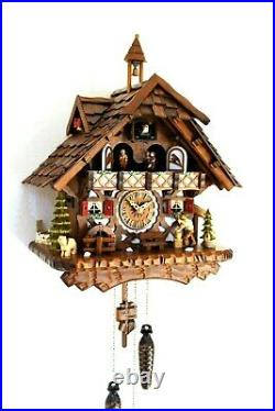 Cuckoo clock black forest quartz german music quarz chalet wood chopper