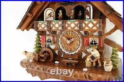Cuckoo clock black forest quartz german music quarz chalet wood chopper