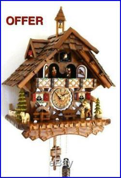 Cuckoo clock black forest quartz german music quarz chalet wood chopper new