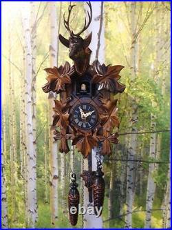 Cuckoo clock black forest quartz german wood batterie clock handmade new