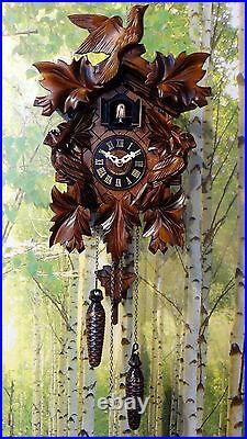 Cuckoo clock black forest quartz german wood batterie clock handmade new 13,7
