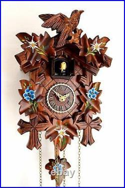 Cuckoo clock black forest quartz german wood batterie clock handmade new painted