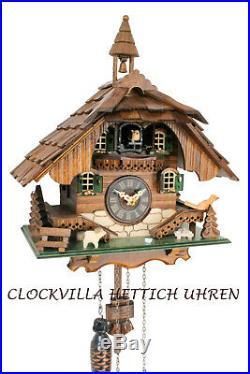Cuckoo clock black forest quartz german wood batterie house style handmade new