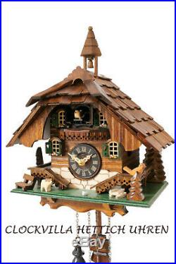 Cuckoo clock black forest quartz german wood batterie house style music new