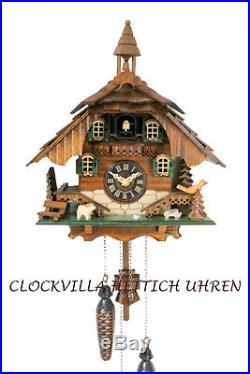 Cuckoo clock black forest quartz german wood batterie house style music new