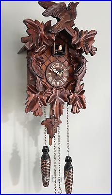 Cuckoo clock black forest quartz german wood battery clock handmade music new