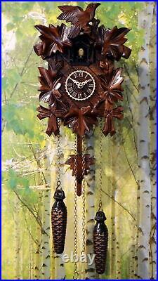 Cuckoo clock black forest quartz german wood battery clock handmade new