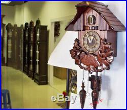 Cuckoo clock black forest quartz wood batterie wall clock handmade