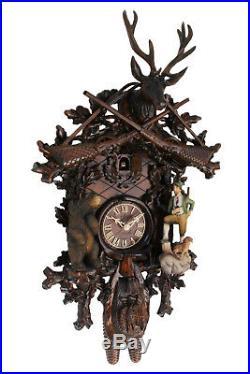 Cuckoo clock german black forest 8 day original bear hunter wood painted new