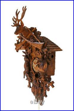 Cuckoo clock german black forest 8 day original hunter wood painted