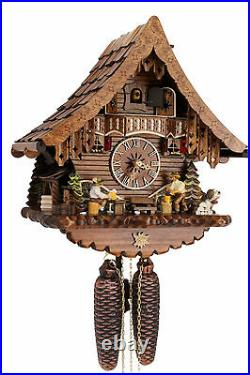 Cuckoo clock german black forest 8 day original wood chalet mechanical new
