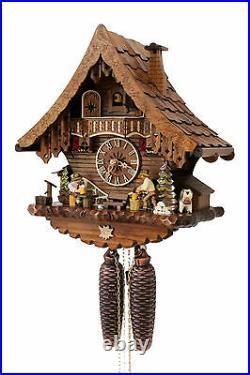 Cuckoo clock german black forest 8 day original wood chalet mechanical new
