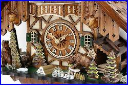 Cuckoo clock hettich black forest 8 day original german chalet bear family wood