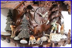 Cuckoo clock hettich black forest 8 day original german hunter wood music new