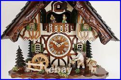 Cuckoo clock hettich black forest 8 day original germany music wood chopper new