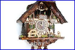 Cuckoo clock original black forest 8 day german music wood chopper new Hettich