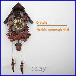 European cuckoo clock chime and light control hand-carved wood wall clocks