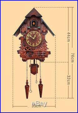 European style 20 Inch Solid Wood Cuckoo Coo Living Room Rocking Wall Clock #