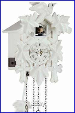 Fünflaub White 25cm- Cuckoo Clock Cuckoo Clock Real Wood New Batte