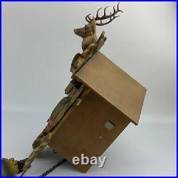 GERMAN BLACK FOREST GIANT HUNTER Elk DEER 8 DAY CARVED CUCKOO CLOCK Antler Gun
