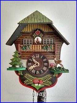 Genuine Vintage 1960's Pendulum & Weight Clockwork Swiss Cuckoo Clock