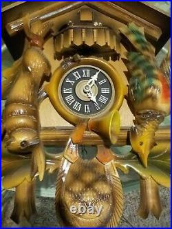 German Black Forest Carved Wood Painted Cuckoo Hunter Clock