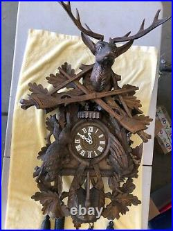 German Black Forest Giant Hunter Deer 8 Day Carved Cuckoo Clock 3' Tall