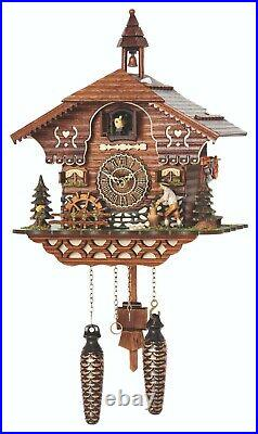 German Black Forest house Quartz Cuckoo Clock with music wood chopper and mill