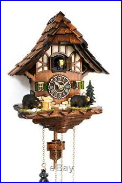 German cuckoo clock black forest house quartz 12 melodies with bears new