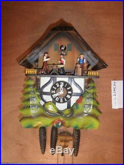 German made Vintage Musical Woodchopper 1 Day Cuckoo Clock CK2459