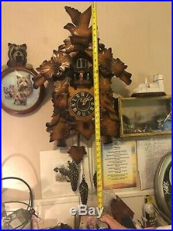 Gigantic Wood Moving Angel Dancers & Bird Musical Cuckoo Clock See VIDEO