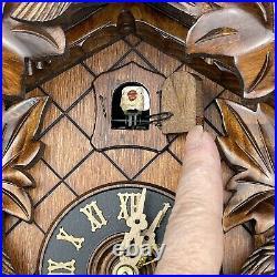 Hones Carved Cuckoo Clock 8 Day 16 Black Forest Made in Germany 5 Leaf 3 Birds