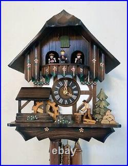 Hönes Musical Chalet Cuckoo Clock, Dancers, Woodchopper, Wooden Weights / Video