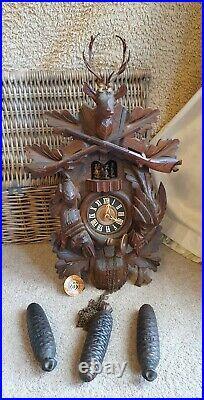 Huge Antique Black Forest Rotating Musical Cuckoo Clock for restoration