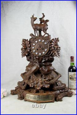 Huge BLACK FOREST wood carved 1885 Clock deer hunt birds marked