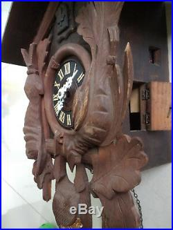 Huge vintage cuckoo clock Black Forest wall clock made in Germany