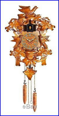 KW705 Kaiser Black Forest style Quartz Cuckoo Clock wood case, dail, and weights