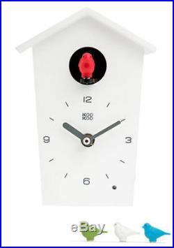 KooKoo Birdhouse Mini NewithBoxed White Modern Design Cuckoo Clock Many Extras